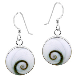 Sterling Silver Round Dangle Earrings with Eye of Shiva Shell