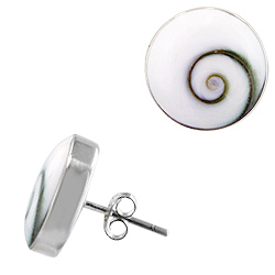 Sterling Silver Round Stud Earrings with Eye of Shiva Shell