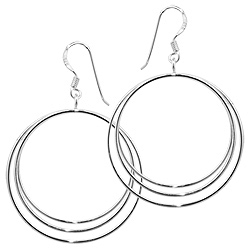 Sterling Silver Triple Circle Dangle Earrings