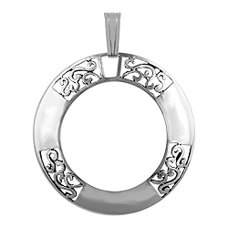 Sterling Silver Filigree and Solid Ring-Shaped Pendant
