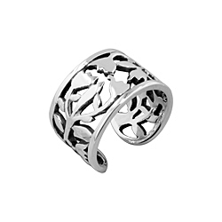 Tulips Pattern Free Size Plain Sterling Silver Ring