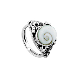 Sterling Silver Buds and Flowers Ring with Oval Eye of Shiva Shell Inlay