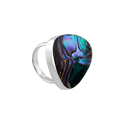 Sterling Silver Rounded Triangle Ring with Abalone Shell Inlay