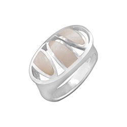 Sterling Silver Slotted Oval Ring with White Mother of Pearl