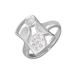 Sterling Silver Rectangular Ring with White Mother of Pearl and White Cubic Zirconia Accents