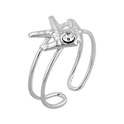 Sterling Silver Fish Toe Ring with White CZ