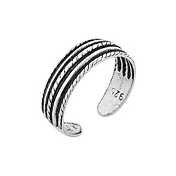 Sterling Silver Lines and Ropes Toe Ring