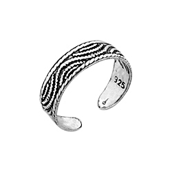 Sterling Silver Waves Toe Ring