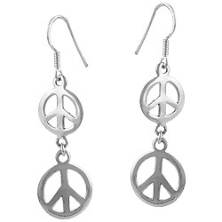 Sterling Silver Double Peace Sign Dangle Earrings