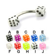 Acrylic dice curved barbell, 14 ga