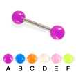 Glow in dark tongue barbell, 14 ga