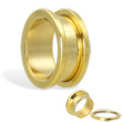 14K gold plated tunnel with threaded back, 3/4""
