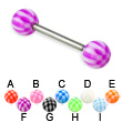 Checkered ball titanium straight barbell, 14 ga