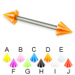 Beach cone titanium straight barbell, 14 ga