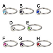 Captive bead ring with jeweled ball, 16 ga