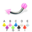 Beach ball and cone titanium curved barbell, 12 ga