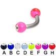 Acrylic ball with stone titanium curved barbell, 12ga