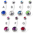 Bioplast double jeweled  belly button ring with steel balls