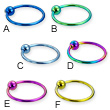 Titanium anodized captive bead ring, 16 ga