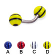 Titanium curved barbell with double striped balls, 14 ga