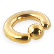 14k gold plated captive bead, 4ga