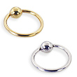 14K Gold Captive Bead Ring, 14 Ga