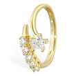 10K solid gold toe ring with multi-gems and jeweled star