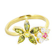 10K solid gold mulit-color mulit-flower toe ring