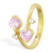 10K solid gold spiral toe ring with pink hearts and clear gem