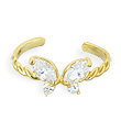 10K solid gold spiral toe ring with jeweled butterfly