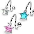 Twister barbell with star gem, 14 ga