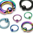 "Titanium anodized captive bead ring with 7/16"" diameter, 14 ga"