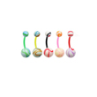 Flexible marble ball belly ring
