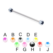 Long barbell (industrial barbell) with acrylic flower balls, 14 ga