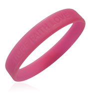 "Official Breast Cancer Awareness ""Hope Faith Love"" Wristband"