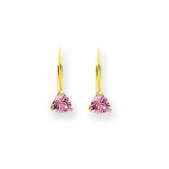 14k 5mm Pink Tourmaline Leverback Earring