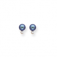 14k 5mm Black Pearl AA Diamond earring