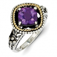 Sterling Silver w/14ky Amethyst Antiqued Ring