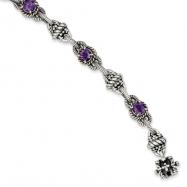 Sterling Silver Amethyst Antiqued Bracelet