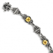 Sterling Silver Citrine Antiqued Bracelet