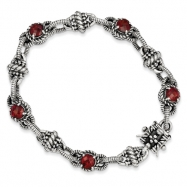 Sterling Silver Garnet Antiqued Bracelet