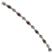 Sterling Silver Rhodilite Garnet Antiqued Bracelet