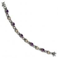Sterling Silver w/14ky Amethyst Antiqued Bracelet