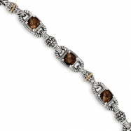Sterling Silver w/14ky Smokey Quartz Antiqued Bracelet