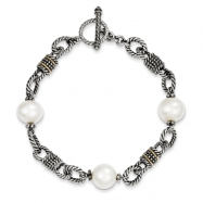 Sterling Silver w/14ky Freshwater Cultured Pearl Antiqued Bracelet