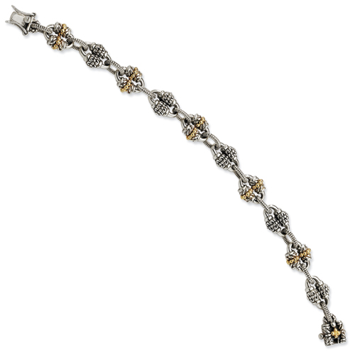 Sterling Silver w/14ky Antiqued Bracelet. Price: $529.34