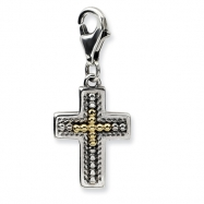 Sterling Silver w/14ky 3-D Antiqued Cross w/Lobster Clasp Charm