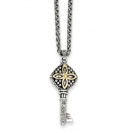 Sterling Silver w/14ky 3-D Antiqued Diamond Key Pendant