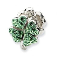 Sterling Silver Refelections Light Green Crystal Clover Bead