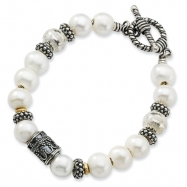 Sterling Silver/14Ky White Pearl, Silver Bead And Bracelet